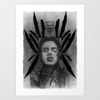 FOLK ROSES TRIANGLE Art Print
