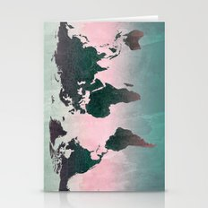 World Map (pink) Stationery Cards