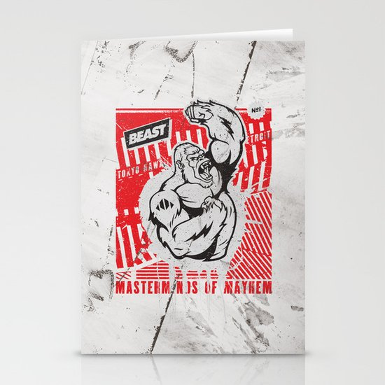 Mayhem Ape (Black on Red) Stationery Card