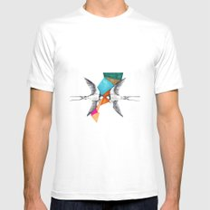 Swallows, geometric drawing Mens Fitted Tee SMALL White