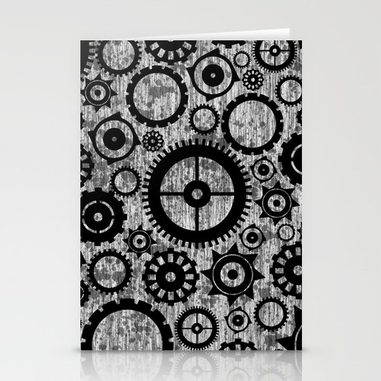 Grunge Cogs. Stationery Card
