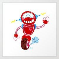 Red Robot Art Print