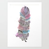 Purple and Blue Zen Feather Art Print