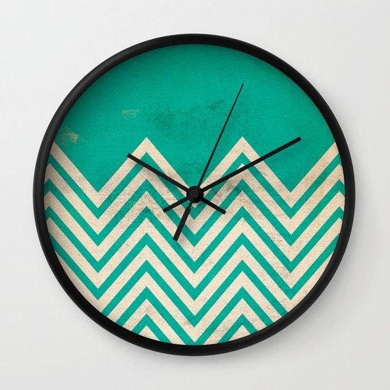 TEXTURED TEAL CHEVRON Wall Clock