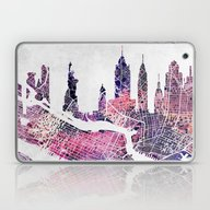 New York Skyline + Map Laptop & iPad Skin