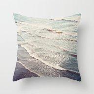 Throw Pillow featuring Ocean Waves Retro by Kurt Rahn