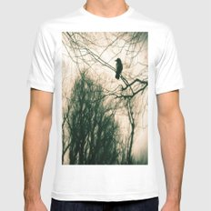 Crow Blur Mens Fitted Tee White SMALL