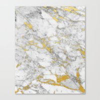Gold Flecked Marble Canvas Print