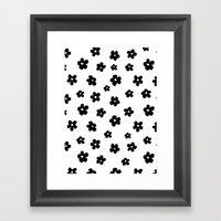 Flowers Black And White Framed Art Print