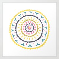 Suzani inspired floral blue 1 Art Print