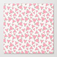 Pink Flowers Pattern Canvas Print
