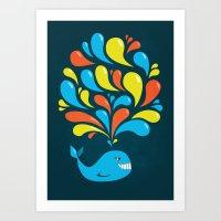Dark Colorful Happy Cartoon Whale Art Print
