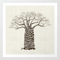 Zebra Tree Art Print