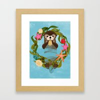 Sea Otter Holiday Card Framed Art Print