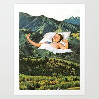wood Art Prints featuring Rising Mountain by Eugenia Loli