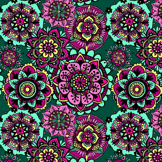 colorful mandala pattern bright green pink art print design
