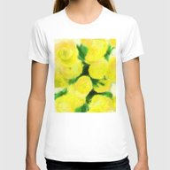Yellow Flowers II Womens Fitted Tee White MEDIUM