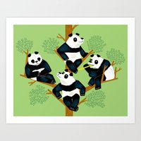 The Pondering Pandas Art Print