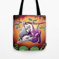 Opossum and Bat in Love Tote Bag