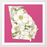 Georgia in Flowers Art Print