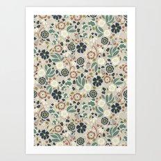 Flourishing Florals (Light-Green) Art Print