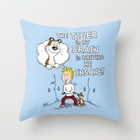 The Tiger In My Brain Throw Pillow