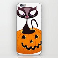 BOOOO -  Halloween Pumpkin Cat iPhone & iPod Skin