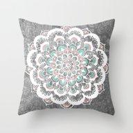 Pastel Floral Medallion … Throw Pillow