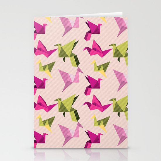 pink paper cranes Stationery Card