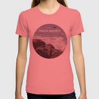 You're Worth It Womens Fitted Tee Pomegranate SMALL