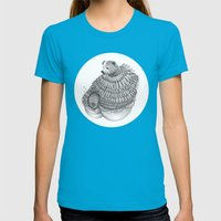 The Bear and the Bees- Feathered Womens Fitted Tee Teal SMALL