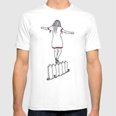 On The Fence White SMALL Mens Fitted Tee