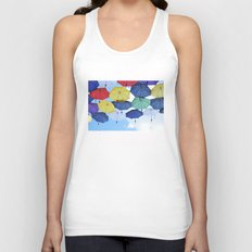 many colorful hanged umbrella against blue sky Unisex Tank Top