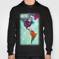Abstract Watercolor World Map Hoody