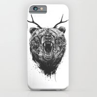 Angry bear with antlers iPhone 6 Slim Case
