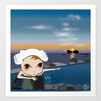 Deery Fairy in Hot Spring Art Print