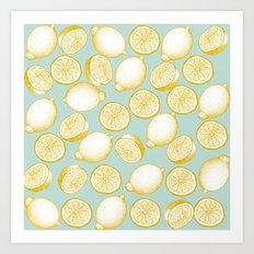 Lemons On Turquoise Background Art Print
