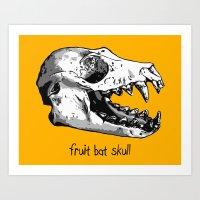 Fruit Bat Skull Art Print