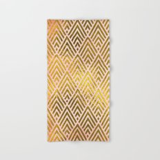 Gold foil triangles on pink  Hand & Bath Towel