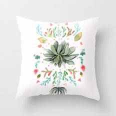 Tropical Succulents Throw Pillow