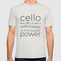 Cello power (white) Mens Fitted Tee Silver SMALL