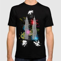 Petronas Towers Abstract Mens Fitted Tee Black SMALL