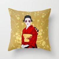 Geisha R Throw Pillow