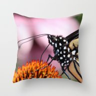 Throw Pillow featuring Monarch Macro by Kealaphotography