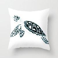 Calligram Sea Turtle Throw Pillow