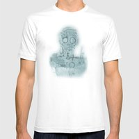 Robot In Blue Mens Fitted Tee White SMALL