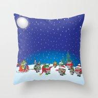 Hedgehog's Christmas Mag… Throw Pillow