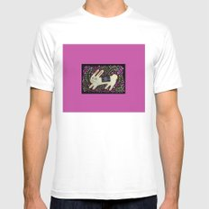 Rabbit in the Pink Mens Fitted Tee SMALL White
