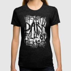 The night is dark and full of terrors Womens Fitted Tee Tri-Black SMALL