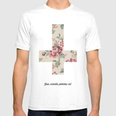 Flower Cross Mens Fitted Tee White SMALL